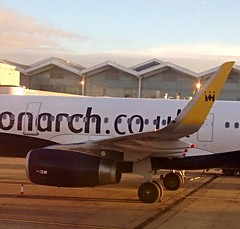Monarch Airlines A321 at Birmingham International. Winglet detail.