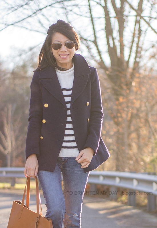 navy peacoat, striped sweater, cognac brown tote