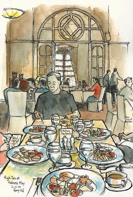 Sketching High Tea at Helena May