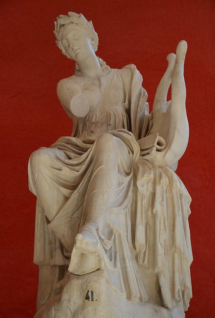Statue of Terpsichore holding a lyre, Muse of dancing and choral song, unearthed in about 1500 at Hadrian's Villa, Tivoli