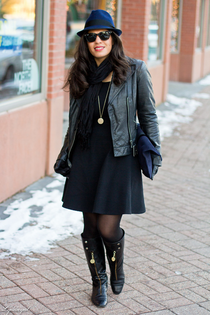 LBD, Leather jacket, Navy fedora-3.jpg