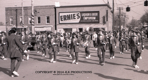 Tri-X Files 84_31.21a: The Marching Band in Front of Ernie's