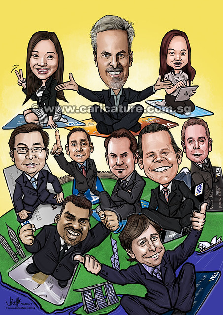 digital group caricatures for VISA International (watermarked)