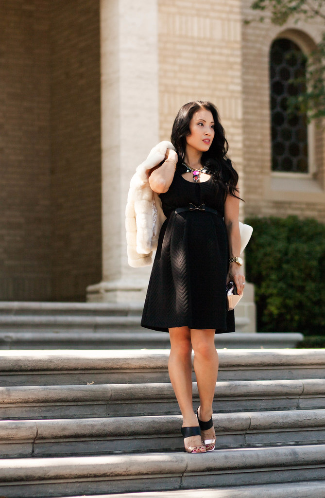 cute & little blog | petite fashion | maternity baby bump pregnant | maternal america quilted black ruffle shift dress, bow belt, gold black sandal pumps, loren hope carina necklace | holiday dress outfit | third trimester 27 weeks