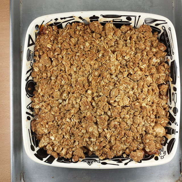 Apple crisp for our meeting this morning. Six people ate 90% of this in an hour. Thank you Thanksgiving for expanding our tummies.