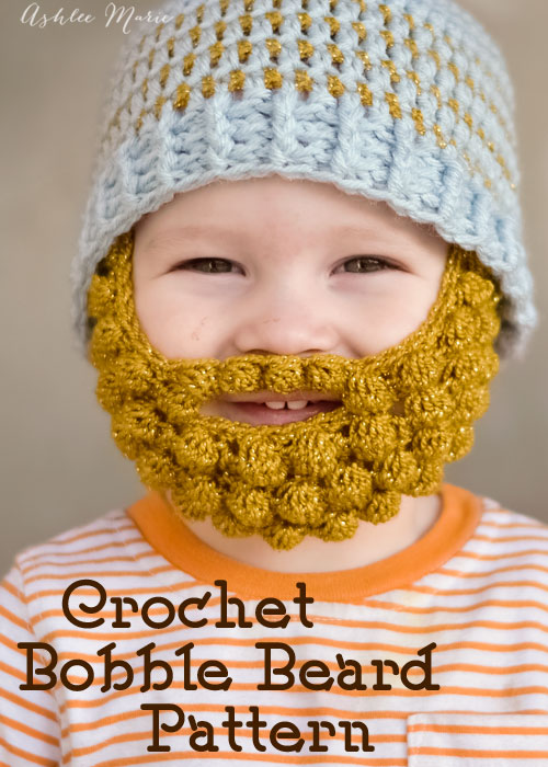 Crochet Bobble Beard pattern - multiple sizes Ashlee Marie
