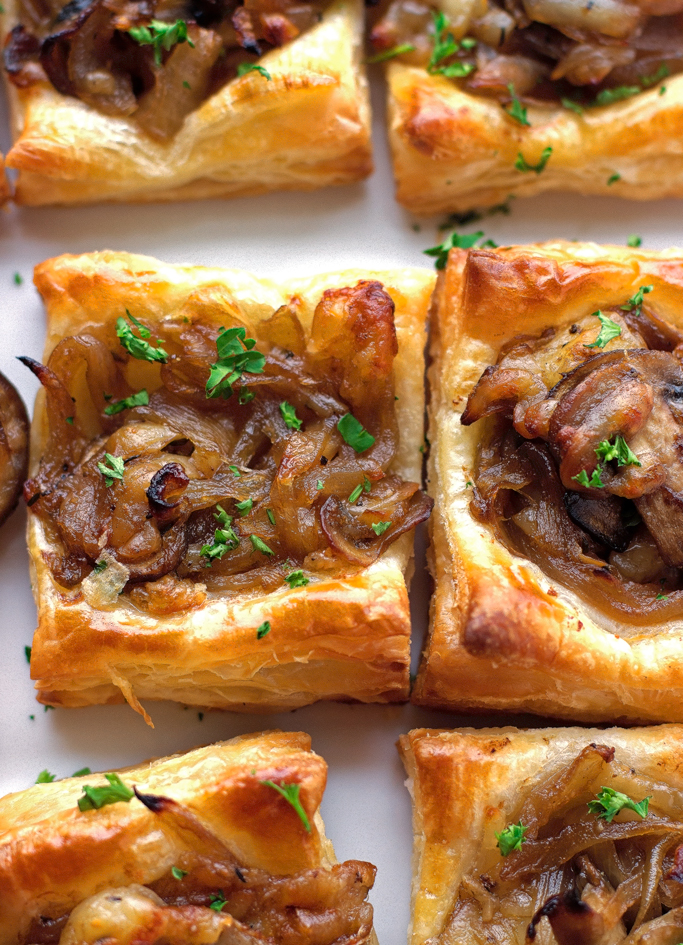 gruyere mushroom caramelized onion bites with sauted crimini mushrooms balsamic caramelized onions