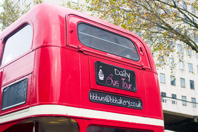 BB Bakery Afternoon Tea on a red double decker London bus