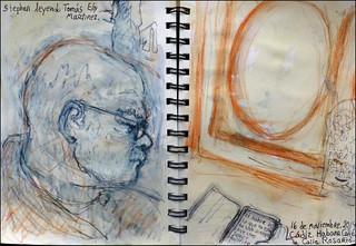 Stephen leyendo Tomás Eloy Martinez. Cádiz. Habana Café. 16 de noviembre, 2014.  (Stephen reading Tomás Eloy Martinez.)
