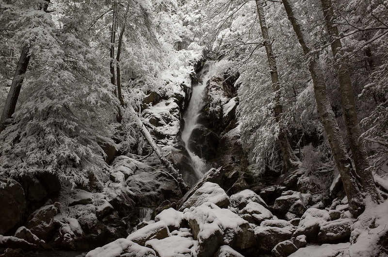 Race Brook Falls with snow