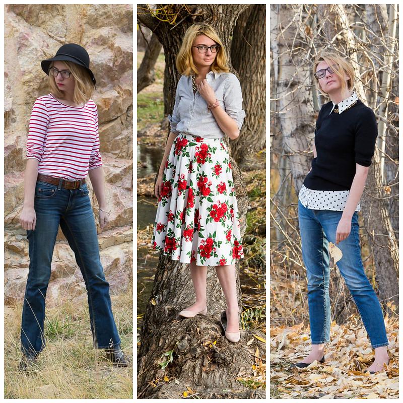 popbasic, striped shirt, rose skirt, polka dot shirt,