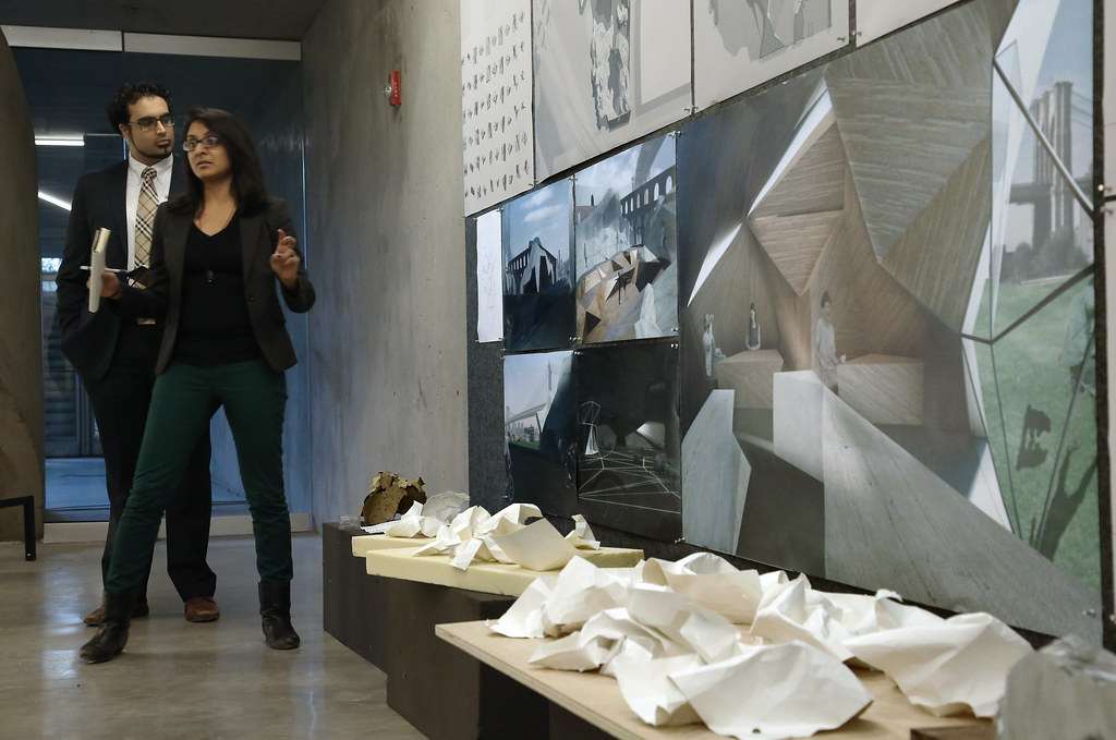 Second-year M.Arch. studio review in the Milstein Hall Dome.