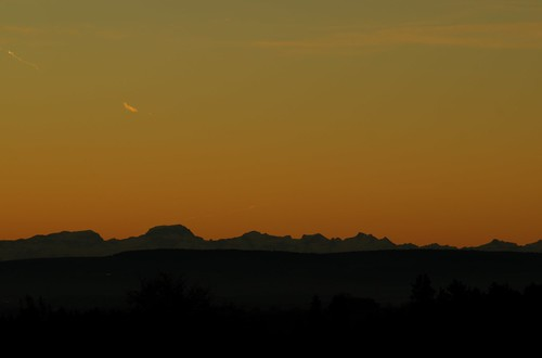 morning sunset mountains alps nature landscape early silhouettes