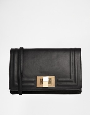 asos border clutch bag with chunky lock black
