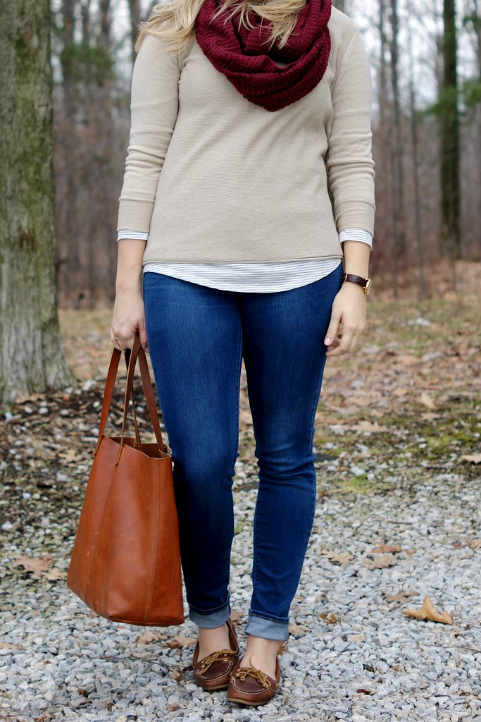 neutral layered outfit