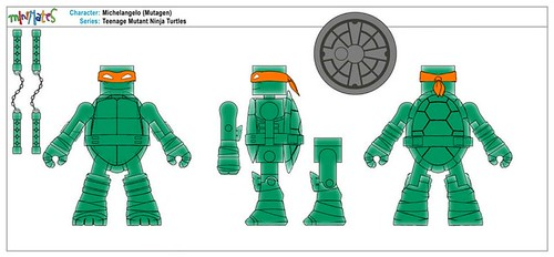 Nickelodeon  TEENAGE MUTANT NINJA TURTLES ; MINIMATES :: MUTAGEN MICHELANGELO .. control art  (( 2014 ))  [[ Courtesy of DST ]]