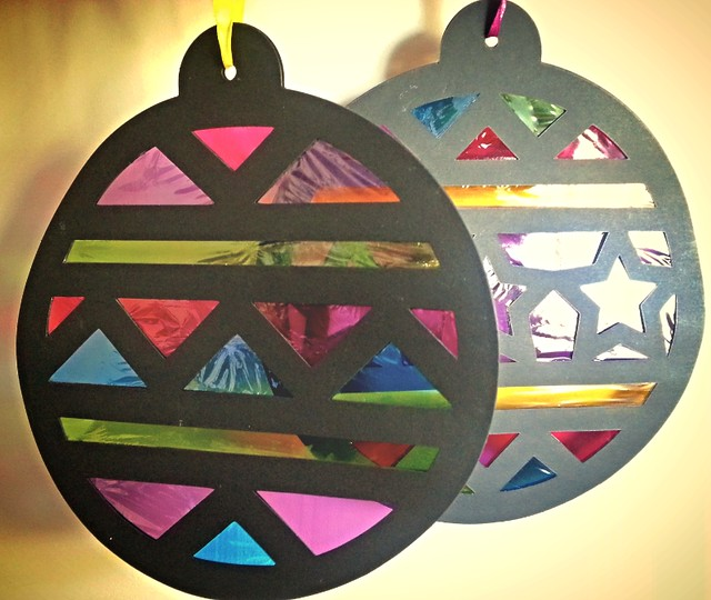Baker Ross bauble stained glass effect decorations, Baker Ross Christmas crafts