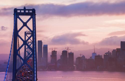 sanfrancisco california city bridge pink sunset sky color skyline bay lowlight nikon soft december purple traffic baybridge 80 d800 2014 yerbabuenaisland