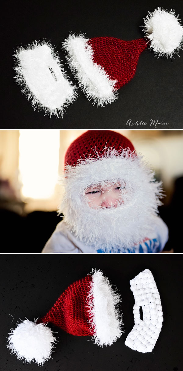 I originally tried fuzzy yarn, then the bobble, but the double loop just works best for these bearded santa hats IMO