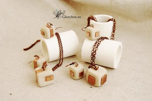 Coliere si cercei ceramica + metal