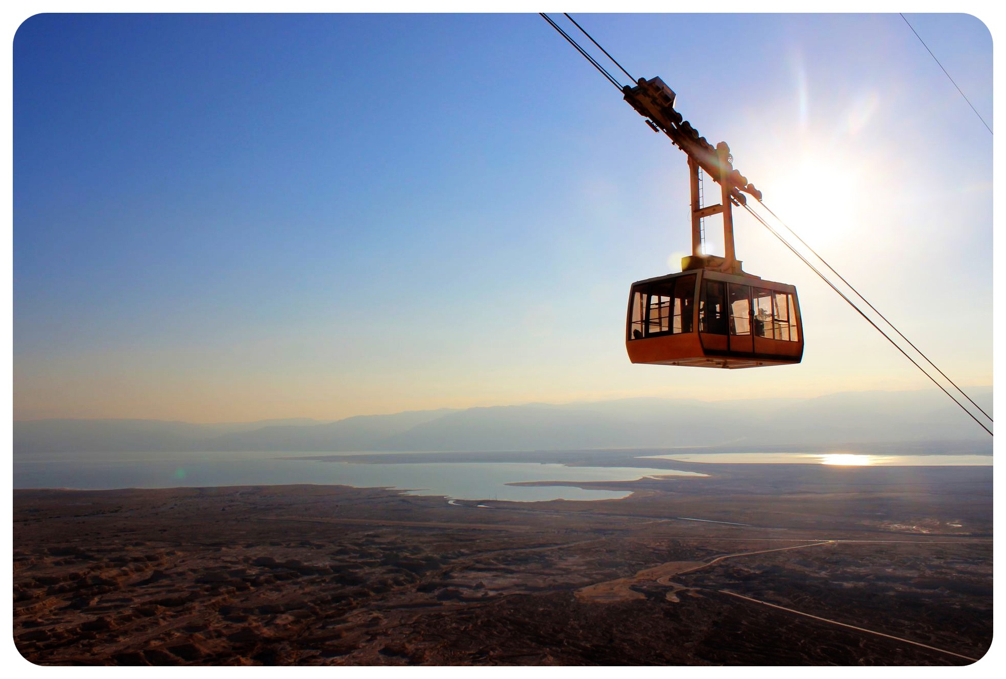 masada cable car with sunrise