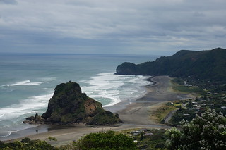 Looking down at Piha Beach