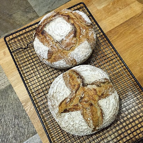 First go with my @BakeryBits proving baskets, using @bakingjames Pain de Campagne recipe.