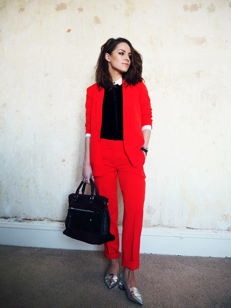 ASOS red cigarette suit 1