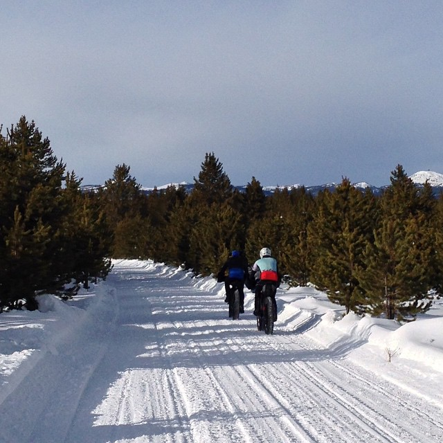 An hour's trail reconnoiter with Mark S (front) and Mark S (back), here heading west with Sawtelle Mountain in the distance. #fatpursuit2015 #salsamukluk #fatbike #backyardadventure #outsideisfree #crushsnow
