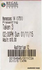 Taken 3 ticketstub