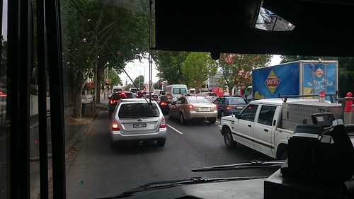 Moderate traffic on Hoddle Street - On the Clifton Hill 246 bus from Richmond Station
