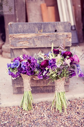Purple bridal bouquets.