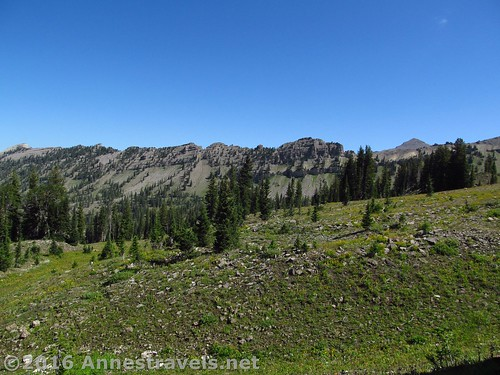Looking across Upper Darby Canyon (on the Trail Route) at Mount Bannon (Right), Jedediah Smith Wilderness near Grand Teton National Park, Wyoming