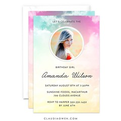 A mixture between clouds and cotton candy #partyinvitations #birthday