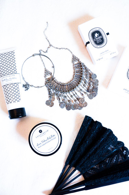 TORONTO BASED ALL NATURAL SKIN CARE BY LOVEFRESH, COIN METALLIC NECKLACE, LACE BLACK FAN FROM VENICE