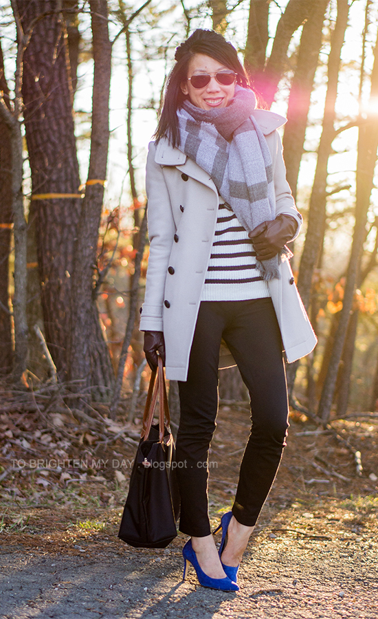 plaid scarf, striped sweater, wool trench coat, dark purple gloves, blue suede pumps
