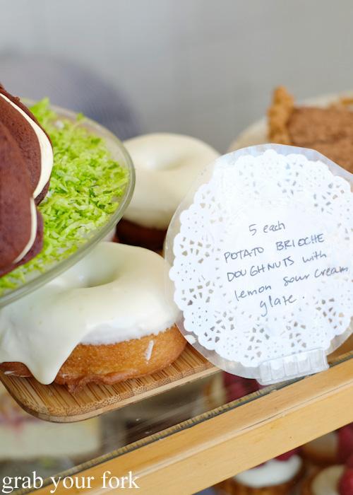 Potato brioche doughnuts with lemon sour cream glaze at Beatrix, North Melbourne