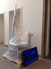 Arne Hendriks/Monnik Evacuation (Towards 8 Billion City), 2014  Shrink Wrap Furniture To Go - Lucas Maassen Animation (towards 8 Billion City) - Anders Hoedholt Research publication - Josine Beugels, Woody Veneman, Margriet Craens,  Anders Hoedholt, Emmy Polkamp, Lucas Maassen, Arne Hendriks, Monnik   The ultimate logical extreme of present patterns of urbanisation is the emergence of one city for the entire world population. Although humanity unconsciously yearns for this ultimate state of being, we are heading towards it in a clumsy and destructive way. But what if all of us were to – voluntarily - evacuate our homes, cities and nations and from now on live in a single point on Earth: a city for 8 billion people in the year 2025?  What if we start to plan our journey towards that city today? Touching upon and extrapolating existing trends of migration flows, the growing world population, cultivation of personal desire and urban development Arne Hendriks invited friends and colleagues to explore the consequences of this evacuation during a 3 day Futures Lab research in an abandoned gym room of an old school in Hasselt.  www.z33.be/en/projects/workshop-arne-hendriks-monnik-futu...