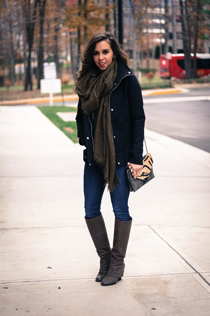 black winter jacket. green scarf. denim. knee high boots. loeffler randall calf hair bag. fall outfit. va darling. 2
