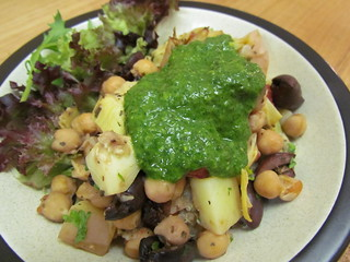Chickpea and Artichoke 'Bliss in a Dish'; Basil Lemon Pistou