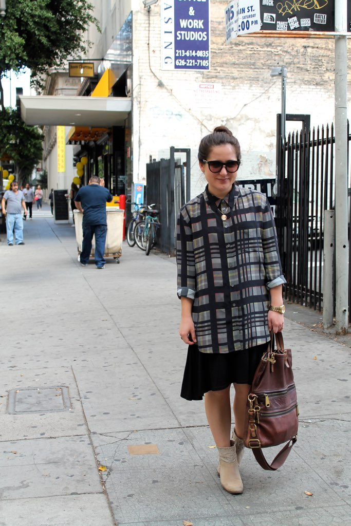 fall #ootd: silk plaid blouse + black dress + ankle boots