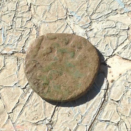 Солхатская мелкая монетка 14 века, найдена только что при посадке клубники))) #старыйкрым  #садогород