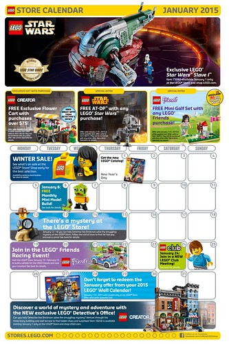 LEGO January 2015 Store Calendar Promos & Events | The Brick Fan