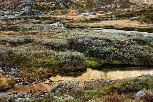 autumn houses sunset house mountain water norway rock norge bush rocks autumncolors bushes noorwegen klaracolor klarathomas