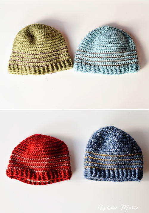 free pattern, multiple sizes striped crochet beanie