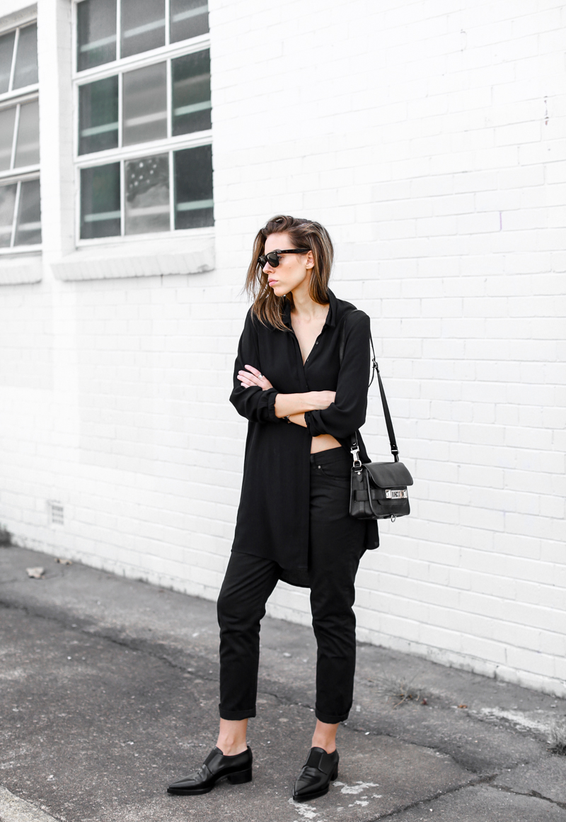 MODERN LEGACY fashion blog street style all black loafers PS11 Mini bag boyfriend jeans (1 of 1).jpg (1 of 1)