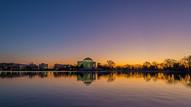 First Light on New Year's Day over the DC Tidal Basin & Jefferson Memorial