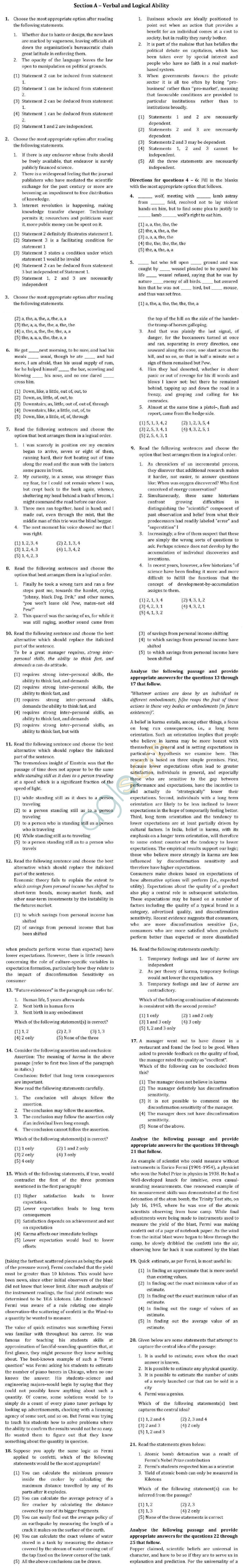 XAT 2013 Question Paper with Solutions