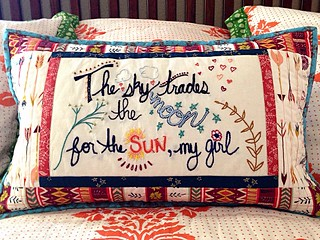 My embroidered pillow. Lyrics from the Avett Brothers' song, Left on Laura, Left on Lisa. The fabric is Wild and Free by Maureen Cracknell. The embroidery design and color scheme was inspired by the Wild and Free fabric, which is gorgeous!