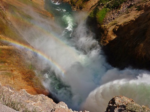 Rainbows in the mist from Lower Falls  (Yellowstone)